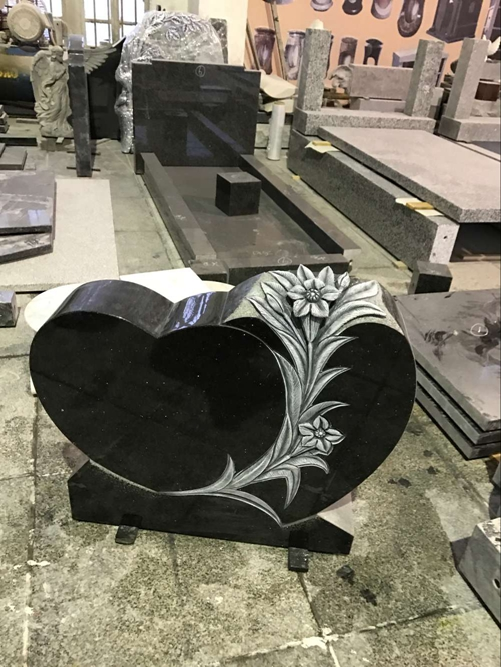 Black Galaxy Granite Monument With Lily Carving