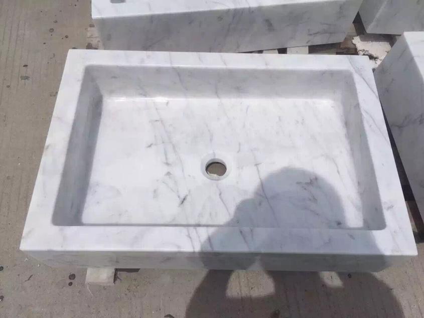 Carrara White Marble Bathroom Basin