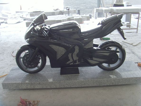 Granite Motorcycle Sculpture