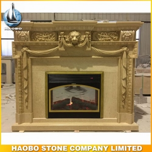 Yellow Marble Indoor Fireplace