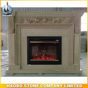 Beige Marble Indoor Fireplace