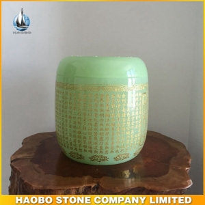 Green Coloured Glazed Cremation Urns