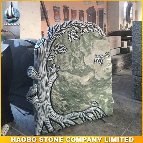Green Onyx Stone Carved Tree Headstone