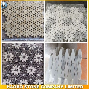 White Gray Marble Mosaic Tiles