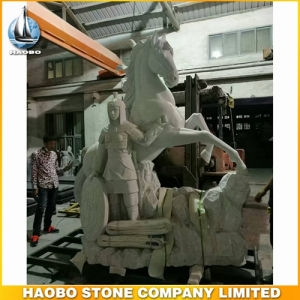 Large Crazy Stone Horse Sculpture