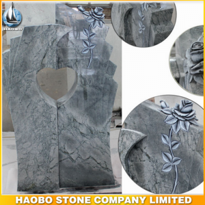 Carved Rose Blue Granite Heart Shaped Monument