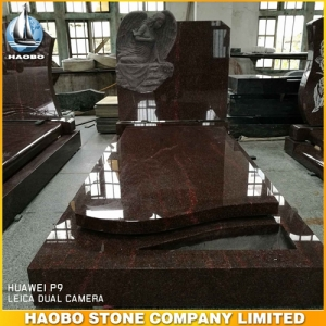 India Red Granite Weeping Angel Headstone