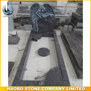 Angel Bahama Blue Granite Tombstone