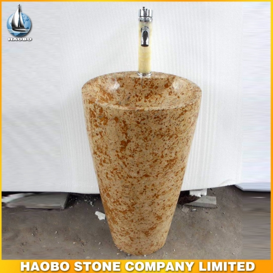 Yellow Marble Stone Vessel Bathroom Sink