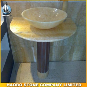 Yellow Onyx Stone Vessel Bathroom Sink
