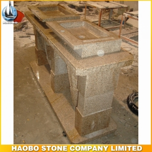 Yellow Granite Double Stone Pedestal Sink