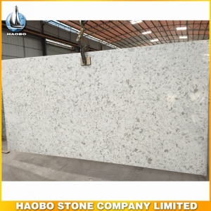 White Quartz Slab With Grey Spots