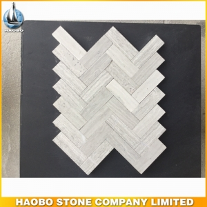 White Wood Grain Marble Mosaic Tile