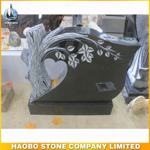 Carved Tree India Mist Granite Headstone