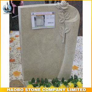 Halley Beige Marble Monument With Carved Rose