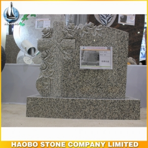 G623 Granite Carving Cross Headstone