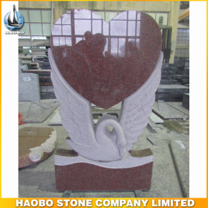 Carved Swan Red Granite Monuments Manufacturer