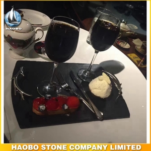 Black Slate Coffee Plate From Haobo Factory