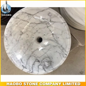 Carrara White Marble Round Stone Bathroom Sink
