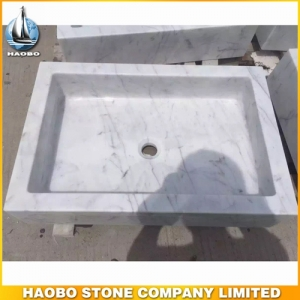 Carrara White Marble Bathroom Basin For Hotel