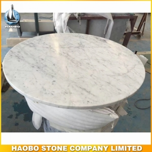 Round Carrara White Marble Stone Kitchen Table Top