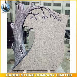 Carved Tree G603 Granite Tombstone