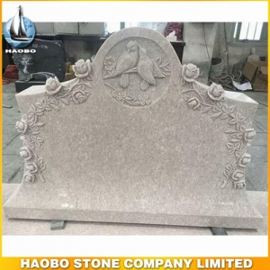Pearl White Granite Tombstone With Carved Rose