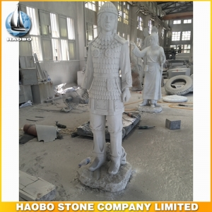 Chinese White Marble Soldier Sculpture