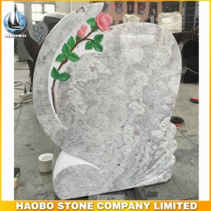 Kashmir White Granite Monument With Carved Rose