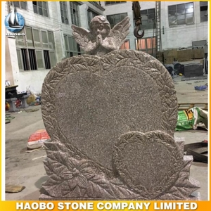 China Pink Granite Double Heart Shaped Monument