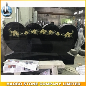 Shanxi Black Granite Double Heart Shaped Monument