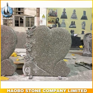 China Granite Heart Shaped Carved Rose Headstone