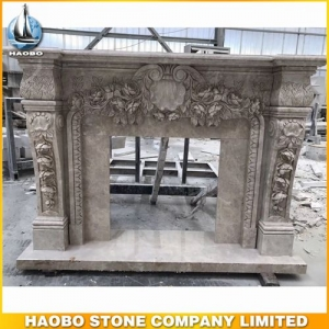 Carved Rose Grey Marble Fireplace For Indoor Plans