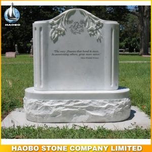 Column Style White Marble Carved Lily Memorials