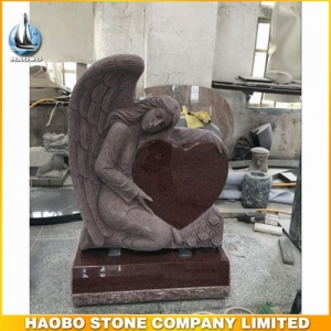 Angel Holding Red Heart Shaped Memorial