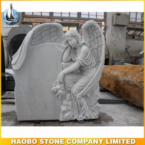 White Marble Weeping Angel Memorial Statue