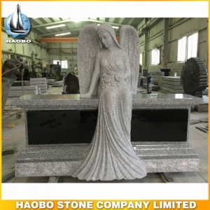 Granite Angel Bench Headstone