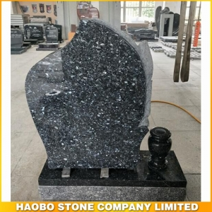 Polished Blue Pearl Granite Headstone