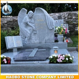 Carved Angel Headstones With Viscont White Granite
