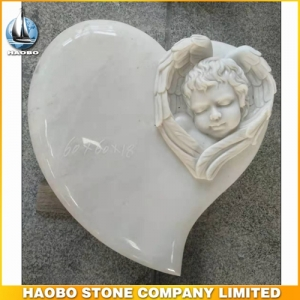 Carved Angel Heart Shape Memorial For Baby