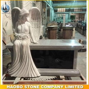 Grey Granite Angel Bench Headstone