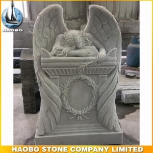 White Marble Weeping Angel Statue