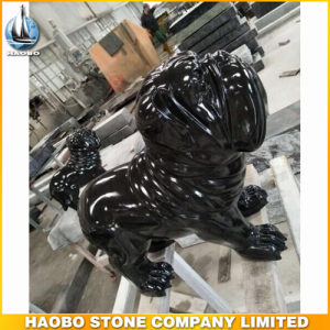 Black Granite Dog Carving