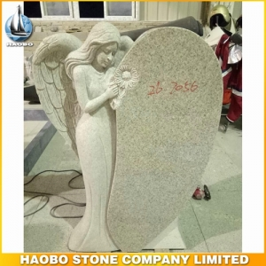 Pearl White Granite Angel Headstone