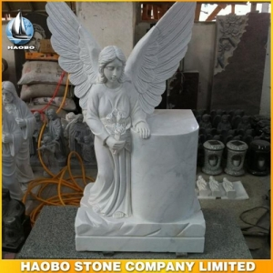 Carrara White Marble Angel Headstone