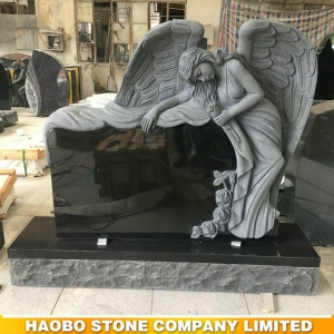 Black Granite Carved Angel Monument HAOBO-STONE